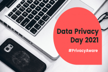 "Image of a phone and computer overlaid with ""Data Privacy Day 2021: #PrivacyAware"""